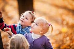 Πορτρέτα των μικρών κοριτσιών με το κίτρινο φύλλωμα στοκ εικόνα με δικαίωμα ελεύθερης χρήσης