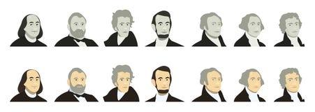 Πορτρέτα των Προέδρων των ΗΠΑ και των διάσημων πολιτικών Τυποποιημένος όπως στα χρήματα τραπεζογραμματίων αμερικανικών δολαρίων τ διανυσματική απεικόνιση