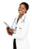 Πορτρέτου βέβαιο άσπρο υπόβαθρο γιατρών αφροαμερικάνων θηλυκό Στοκ Εικόνες
