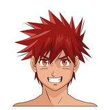 Πορτρέτου προσώπου έκφραση ματιών τρίχας manga anime αρσενική κόκκινη Στοκ Εικόνες