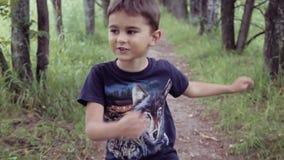 Πορτρέτο Ένα ευτυχές όμορφο μικρό παιδί που περπατά στο πάρκο θερινό ηλιόλουστο ημερησίως απόθεμα βίντεο