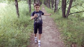 Πορτρέτο Ένα ευτυχές όμορφο μικρό παιδί που τρέχει μέσω του πάρκου που πηδά και που χαμογελά σε θερινό ηλιόλουστο ημερησίως απόθεμα βίντεο