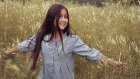 Πορτρέτο Ένα όμορφο μικρό κορίτσι περπατά κατά μήκος του τομέα στην υψηλή χλόη και χαμογελά με την ευτυχία κίνηση αργή φιλμ μικρού μήκους