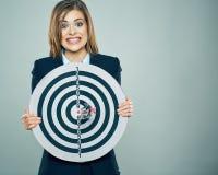 Πορτρέτο έννοιας του νέου στόχου εκμετάλλευσης επιχειρησιακών γυναικών Στοκ Εικόνες