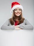Πορτρέτο γυναικών καπέλων Santa Χριστουγέννων Στοκ Εικόνες