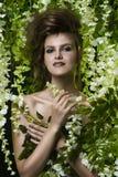 Πορτρέτο γυναικών στα λουλούδια και τα φύλλα Στοκ Εικόνα