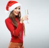 Πορτρέτο γυναικών Santa Χριστουγέννων Στοκ εικόνα με δικαίωμα ελεύθερης χρήσης