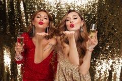 Πορτρέτο δύο ελκυστικών νέων κοριτσιών στα λαμπρά φορέματα Στοκ εικόνα με δικαίωμα ελεύθερης χρήσης