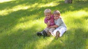 Πορτρέτο δύο εύθυμων αγοριών στο πάρκο στην πράσινη χλόη, αγκαλιάζουν απόθεμα βίντεο
