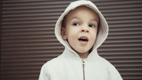 Πορτρέτο ενός αγοριού δύο ετών σε ένα υπόβαθρο των καφετιών συστάσεων απόθεμα βίντεο