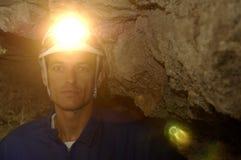 Πορτρέτο ενός ανθρακωρύχου μέσα στο ορυχείο στοκ εικόνα με δικαίωμα ελεύθερης χρήσης