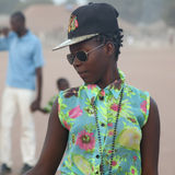 Πορτρέτο ενός αστικού αφρικανικού κοριτσιού στοκ εικόνες