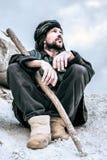 Πορτρέτο ενός ατόμου συνεδρίασης στο τουρμπάνι Στοκ Φωτογραφίες