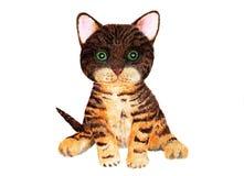 Πορτρέτο ενός γατακιού γάτα της Βεγγάλης η διακοσμητική εικόνα απεικόνισης πετάγματος ραμφών το κομμάτι εγγράφου της καταπίνει το στοκ εικόνες