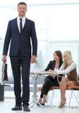 Πορτρέτο ενός εν ενεργεία δικηγόρου στο υπόβαθρο του γραφείου διάνυσμα ανθρώπων επιχειρησιακής απεικόνισης jpg Στοκ Εικόνες