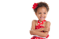 Πορτρέτο ενός εύθυμου μιγά μικρών κοριτσιών Στοκ Εικόνα