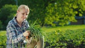 Πορτρέτο ενός θηλυκού αγρότη με ένα πράσινο κρεμμύδι στα χέρια της Έννοια οργανικής καλλιέργειας απόθεμα βίντεο