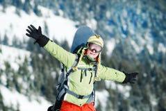 Πορτρέτο ενός θηλυκού snowboarder Στοκ φωτογραφίες με δικαίωμα ελεύθερης χρήσης