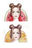 Πορτρέτο ενός κοριτσιού με φρούτα πίσω από το κεφάλι της Στοκ Εικόνες