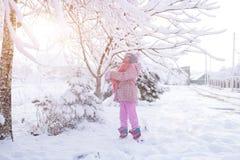 Πορτρέτο ενός κοριτσιού το χειμώνα με τον ήλιο σε ένα καπέλο γουνών στοκ φωτογραφία