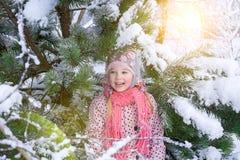 Πορτρέτο ενός κοριτσιού το χειμώνα με τον ήλιο σε ένα καπέλο γουνών στοκ εικόνες