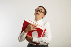 Πορτρέτο ενός κουρασμένου δασκάλου με τους συνδέσμους στοκ φωτογραφίες με δικαίωμα ελεύθερης χρήσης