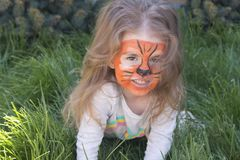 Πορτρέτο ενός μικρού κοριτσιού με το aqua τιγρών makeup, που χαμογελά και που κάθεται στην πράσινη χλόη Στοκ Εικόνα