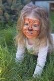 Πορτρέτο ενός μικρού κοριτσιού με το aqua τιγρών makeup, που χαμογελά και που κάθεται σε ένα πάρκο Στοκ εικόνα με δικαίωμα ελεύθερης χρήσης