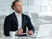 Πορτρέτο ενός νέου επιχειρησιακού ατόμου με ένα lap-top Στοκ εικόνες με δικαίωμα ελεύθερης χρήσης