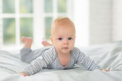 Πορτρέτο ενός παιδιού τέσσερις μήνες στο κρεβάτι Στοκ φωτογραφίες με δικαίωμα ελεύθερης χρήσης