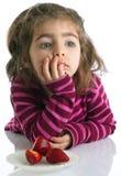 Στοχαστικό μικρό κορίτσι πορτρέτου Στοκ Φωτογραφία