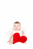 Πορτρέτο ενός χαριτωμένου λατρευτού μικρού αγγέλου βαλεντίνων με την κόκκινη μαλακή καρδιά που απομονώνεται στο άσπρο υπόβαθρο Στοκ Εικόνες