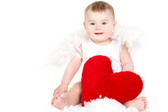 Πορτρέτο ενός χαριτωμένου λατρευτού μικρού αγγέλου βαλεντίνων με την κόκκινη μαλακή καρδιά που απομονώνεται στο άσπρο υπόβαθρο Στοκ εικόνες με δικαίωμα ελεύθερης χρήσης