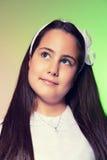 Πορτρέτο ενός μικρού κοριτσιού στην πρώτη ημέρα κοινωνίας της Στοκ Εικόνες