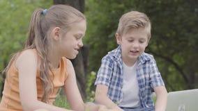 Πορτρέτο ενός όμορφου αγοριού και ενός όμορφου κοριτσιού με τη μακρυμάλλη να εξετάσει κάμερα ενός lap-top στο πάρκο r απόθεμα βίντεο
