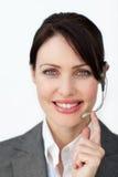 Πορτρέτο ενός όμορφου γραμματέα με το ακουστικό Στοκ Εικόνα