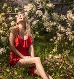 Πορτρέτο ενός όμορφου κοριτσιού μεταξύ του φυλλώματος και των λουλουδιών άνοιξη στοκ φωτογραφίες