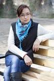 Πορτρέτο ενός όμορφου κοριτσιού με τα γυαλιά Στοκ Εικόνα