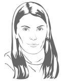 Πορτρέτο ενός όμορφου κοριτσιού, σκιαγραφία Στοκ φωτογραφία με δικαίωμα ελεύθερης χρήσης