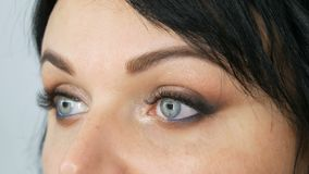 Πορτρέτο ενός όμορφου μπλε-eyed προτύπου γυναικών με τη μακριά μαύρη τρίχα που κάνει το καφετί μάτι βραδιού makeup και το φρύδι απόθεμα βίντεο