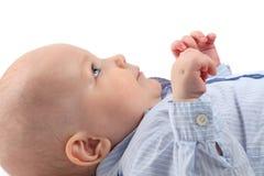 Πορτρέτο ενός όμορφου μωρού στο σχεδιάγραμμα στοκ εικόνες