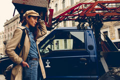 Πορτρέτο ενός όμορφου νέου κοριτσιού hipster Στοκ Εικόνα