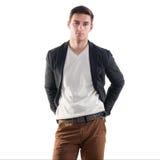 Πορτρέτο ενός όμορφου νεαρού άνδρα - σπουδαστής αστικός στοκ φωτογραφία με δικαίωμα ελεύθερης χρήσης