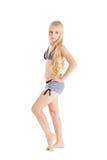 Πορτρέτο ενός όμορφου ξανθού ευρωπαϊκού κοριτσιού που φορά το κολυμπώντας κοστούμι. Στοκ Φωτογραφία