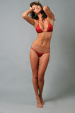 Πορτρέτο ενός όμορφου προκλητικού κοριτσιού που φορά το κόκκινο μπικίνι Στοκ φωτογραφίες με δικαίωμα ελεύθερης χρήσης