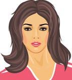 Πορτρέτο ενός όμορφου brunette σε μια ρόδινη μπλούζα Στοκ Εικόνα