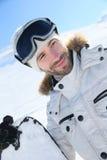 Πορτρέτο ενός snowboarder στις κλίσεις σκι Στοκ εικόνα με δικαίωμα ελεύθερης χρήσης