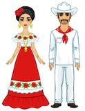 Πορτρέτο ζωτικότητας της μεξικάνικης οικογένειας στα αρχαία εορταστικά ενδύματα πλήρης αύξηση ελεύθερη απεικόνιση δικαιώματος