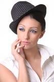 πορτρέτο καπέλων brunette Στοκ φωτογραφία με δικαίωμα ελεύθερης χρήσης