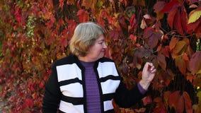 Πορτρέτο κινηματογραφήσεων σε πρώτο πλάνο μιας ευτυχούς ηλικιωμένης γυναίκας σε ένα πάρκο φθινοπώρου απόθεμα βίντεο